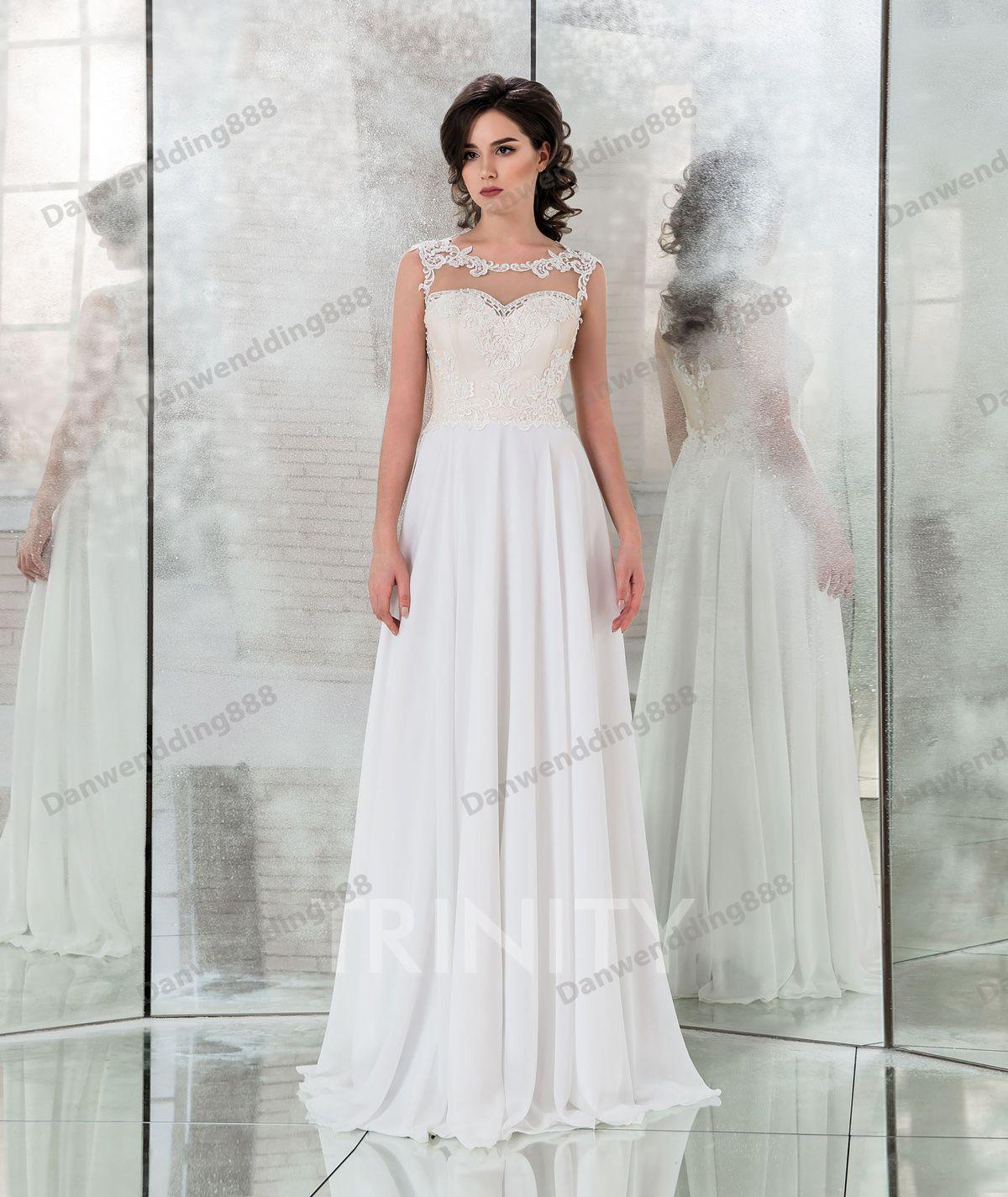 Красота слоновой кости шифон совок аппликация ножна свадебные платья свадебные платья свадебные платья свадебные платья на заказ размер 2-16 zw713267