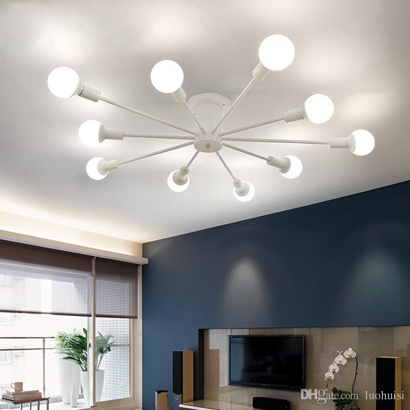 Modern Simple LED Ceiling Lights Nordic Living Room Light Restaurant Lamps  Bedroom Ceiling Lighting Iron Crafts Ceiling Lights Vintage Pendant Lights  ...