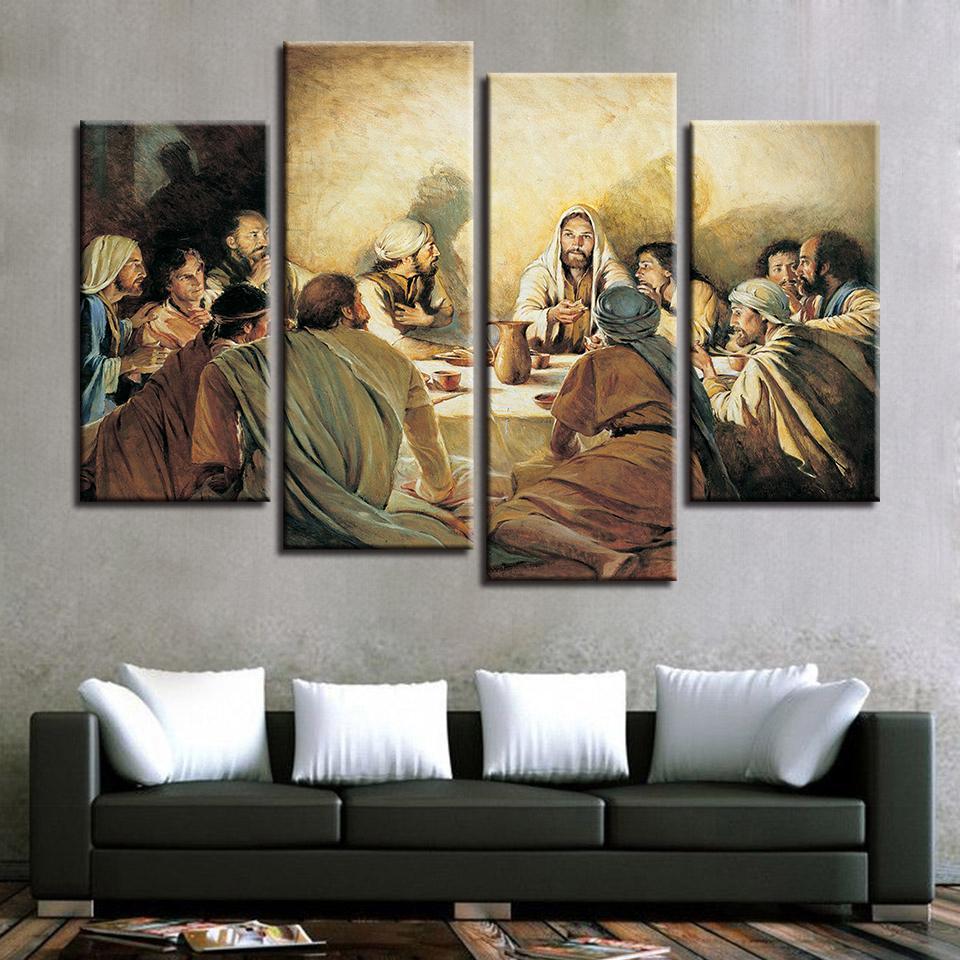4 أجزاء من يسوع مجردة صورة وحدات عشاء النهائي المشارك غرفة المعيشة جدار الفن قماش طباعة اللوحة ديكور المنزل
