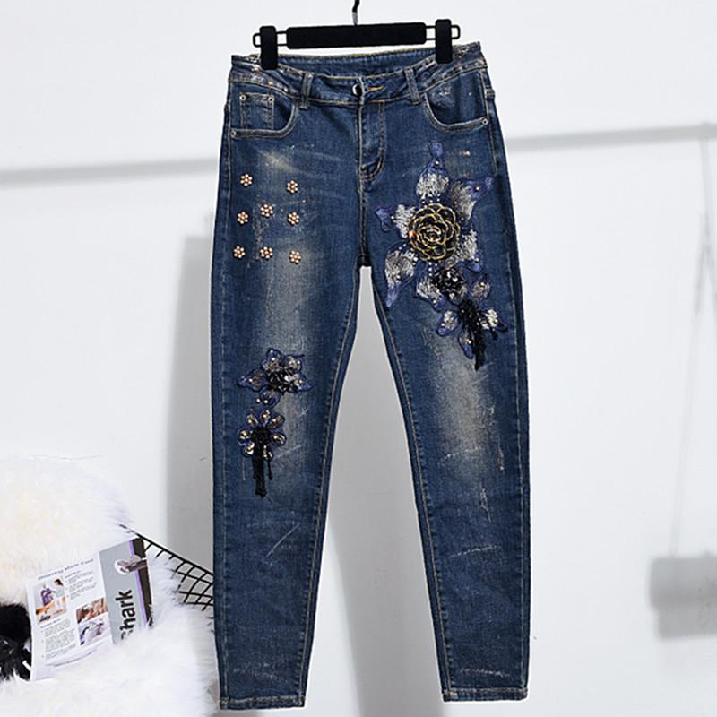 Estiramiento Vaqueros ajustados para mujer elástico de la manera de Jean del dril de algodón de lujo con lentejuelas con cuentas Flores Jean vendimia del estilo de los pantalones del lápiz Streetwear