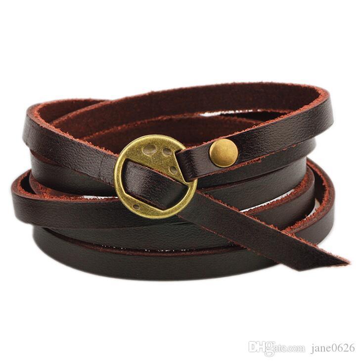 Multilayer Leather Wrap Bracelet Unisex Adjustable Wristband Cuff Bangle for Kids Boys Girls Women Men Party Gift