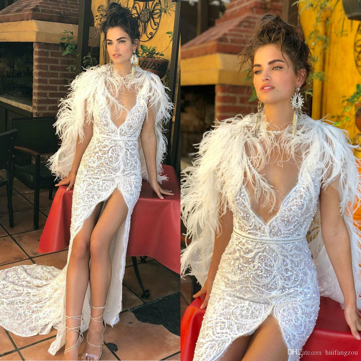Berta 2018 Wedding Dress Sexy Deep V Neck Full Lace Applique Sequins Beaded High Split Bridal Gowns With Removable Feather Wrap