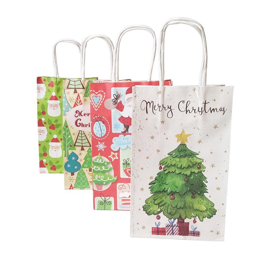 10 Pz / pacco 21 * 13 * 8 cm Confezione regalo di Natale Borsa con manico Decorazione sacchetti di carta Kraft Albero bello favore di Babbo Natale