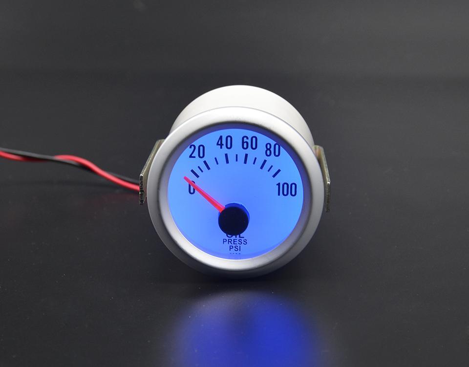 "2/"" 52mm Auto Car 0~100PSI Oil Pressure Meter Gauge Pointer Sensor White"