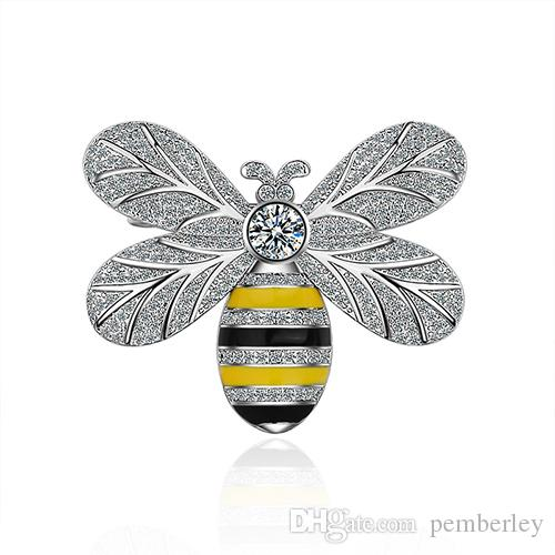 XZ007 أوروبا والولايات المتحدة انفجار نماذج جديدة النحل بروش الأزياء الرجعية الراين البرونزية القديمة بروش شعبية عالية نهاية تجار الجملة