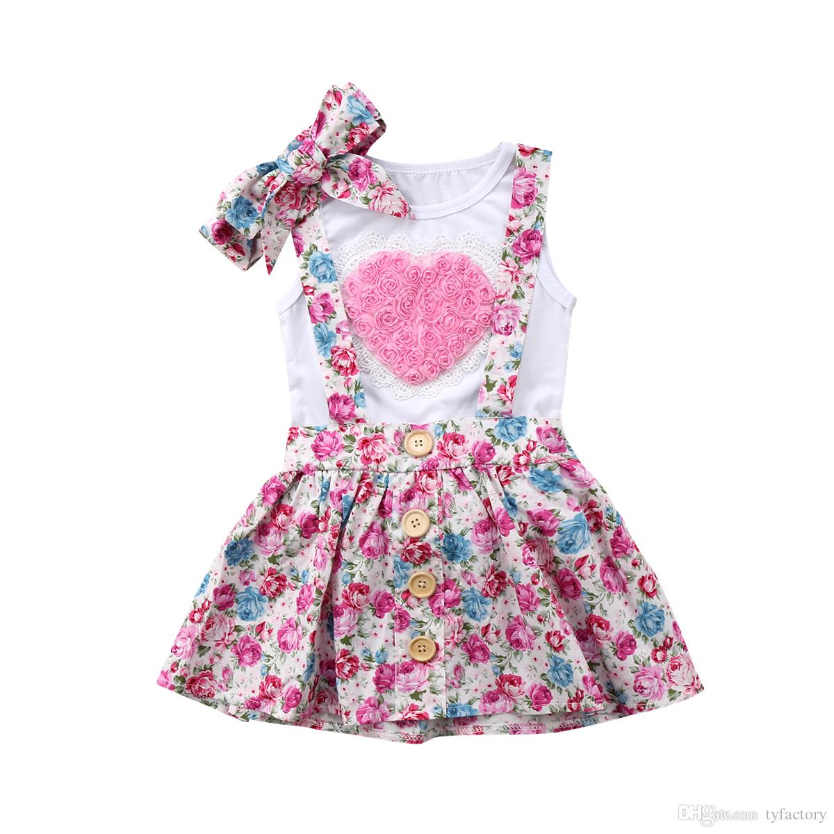 Floral Kids Baby Girls Overalls Dress Outfits Clothes T-shirt Vest Skirts Hairband 3PCS Set Pink Heart Family Matching Clothing Toddler