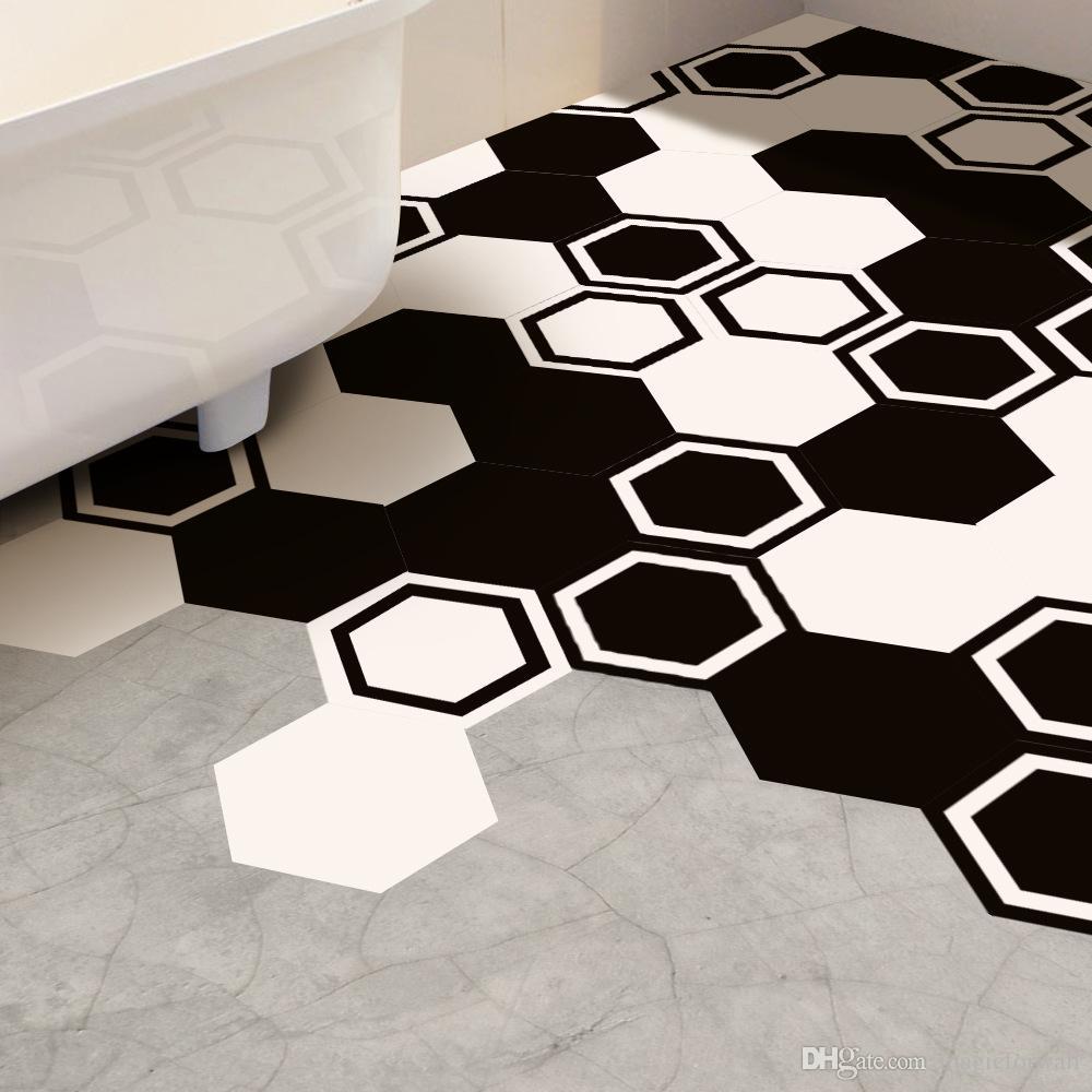 Großhandel 10 Teile / Satz Schwarz Weiß Hexagon PVC Boden Aufkleber  Dekoration Wandbild Poster Kunst Wohnzimmer Schlafzimmer Badezimmer Fliesen  ...