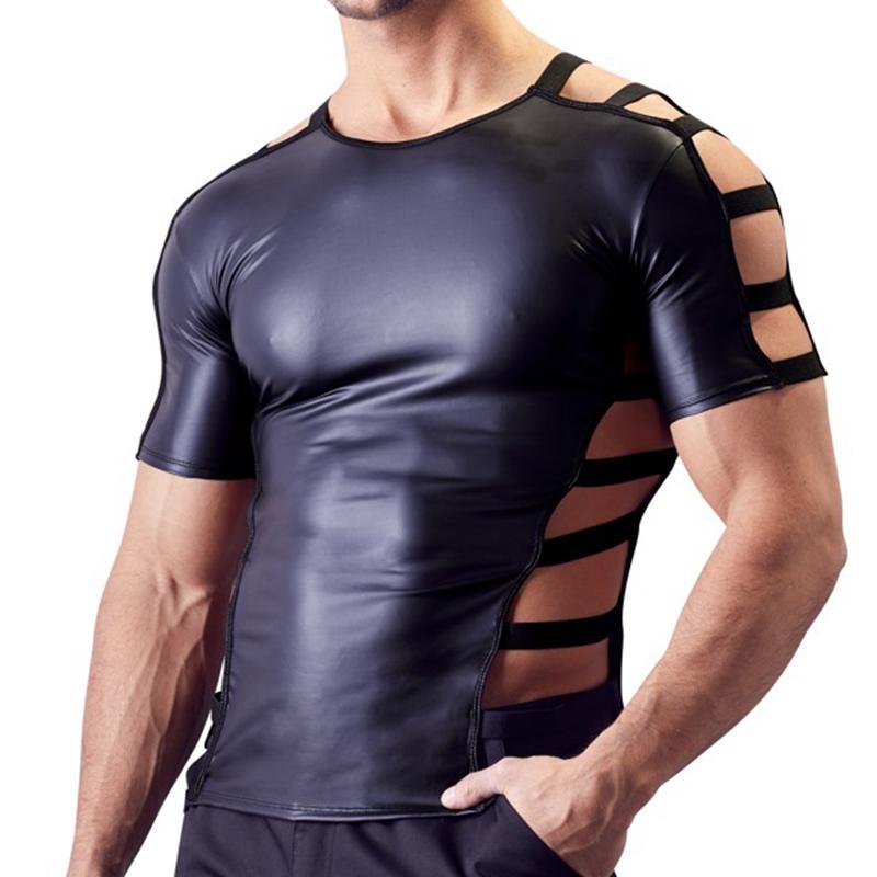 Męskie Sexy Faux Leather T Shirts Męskie Moda Mężczyźni Czarne Nylon Tees Tight Shirts Gay Funny Funny Undershirts Dancewear Gorset Odzież
