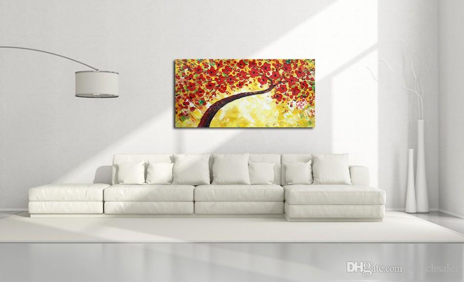 Acheter 1 Panneaux Fleur Arbre épaisse Palette Couteau Peinture Peint à La Main Mur Art Toile Peinture à La Maison Décoration Moderne Photo Oeuvre