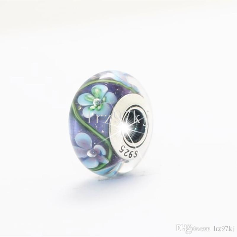 5pcs/lots S925 Sterling Silver Threaded Screw Murano Glass Beads Fit Pandora Charm Jewelry Bracelets & Necklaces-murano08