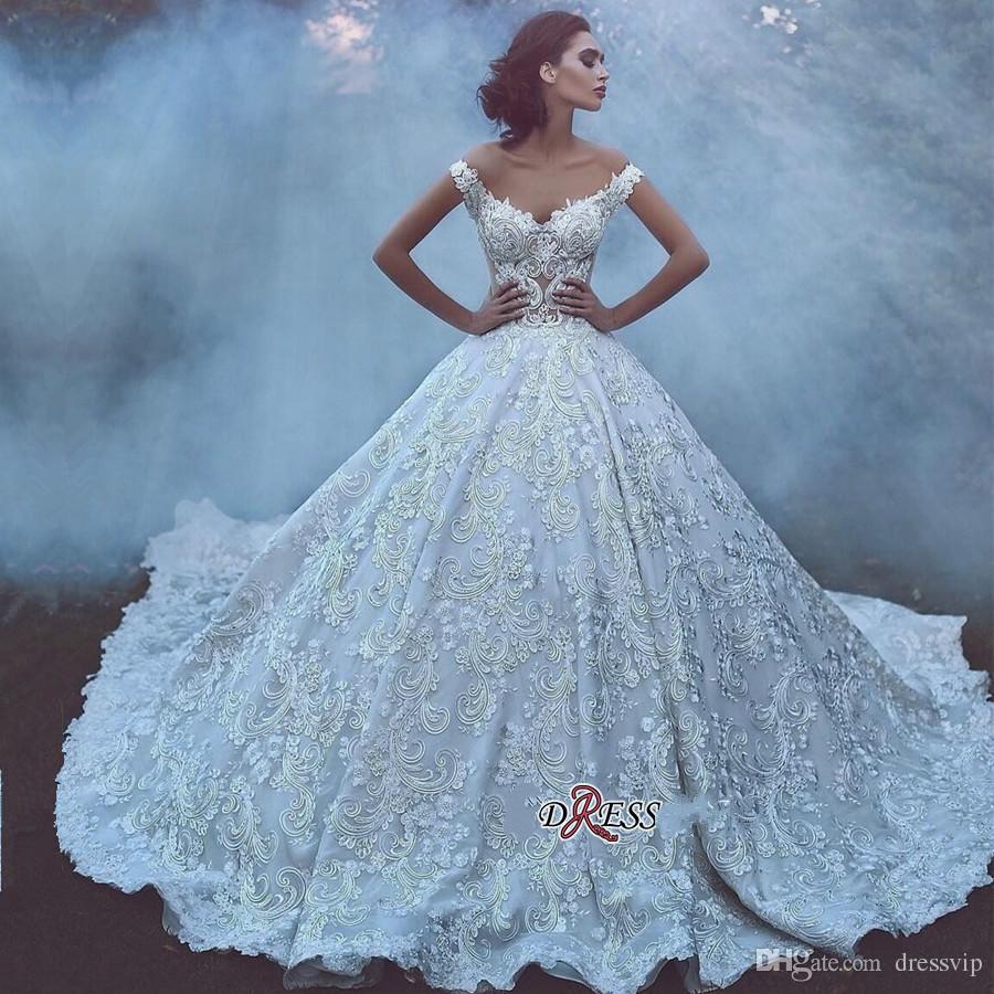 2019 Dubai Arabic Wedding Dresses A Line Lace Appliques Beads Off The Shoulder Sweep Train Luxury Wedding Dress With Petticoat Vintage Bride