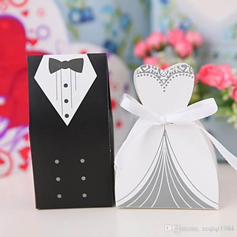 جديد أزياء الزفاف مربع الحلوى العروس العريس مربع زفاف العرسان الإحسان أفضل علب الهدايا 50 زوجا / 100pcs التي