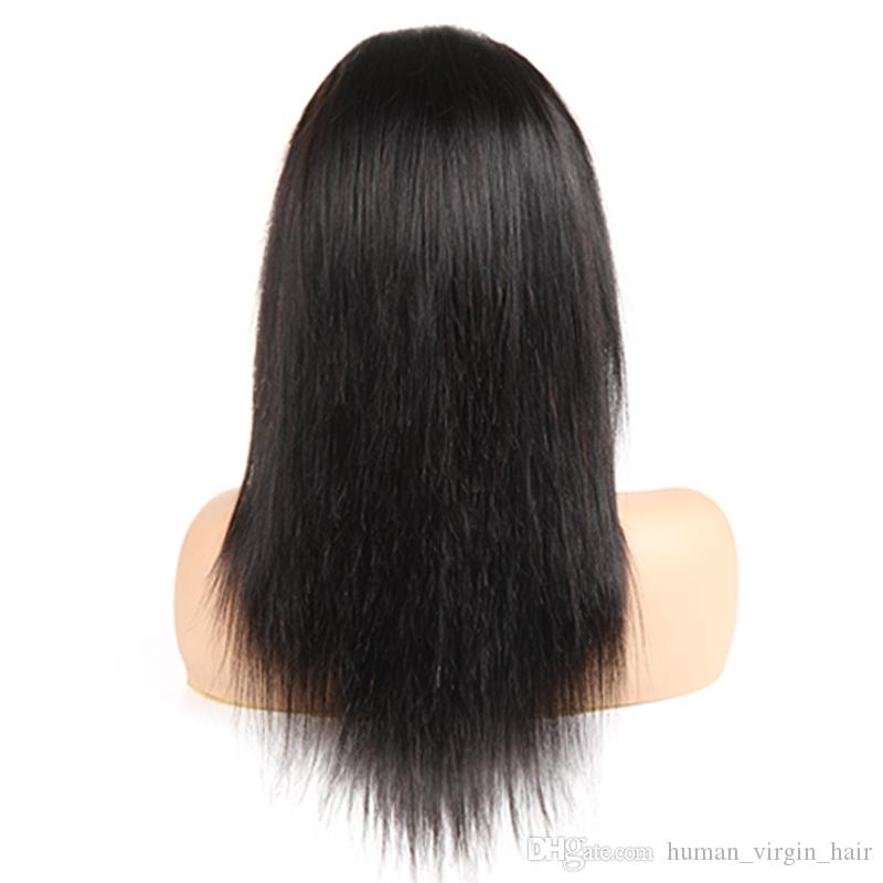 Wholesale Full Lace Human Hair Wigs Straight Brazilian Virgin Hair Vendors Unprocessed Wigs For Black Woman Long Inch Free Shipping