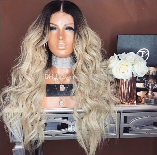 새로운 패션 검은 머리카락 blonde human hair 1b 613 몸 날개 brazilian ombre 레이스 프론트 가발