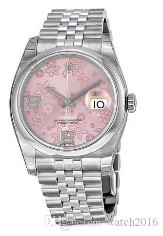 Relógio de luxo Top Quality Datejust Floral Rosa Dial Aço Inoxidável Automático Ladies Watch 36 milímetros
