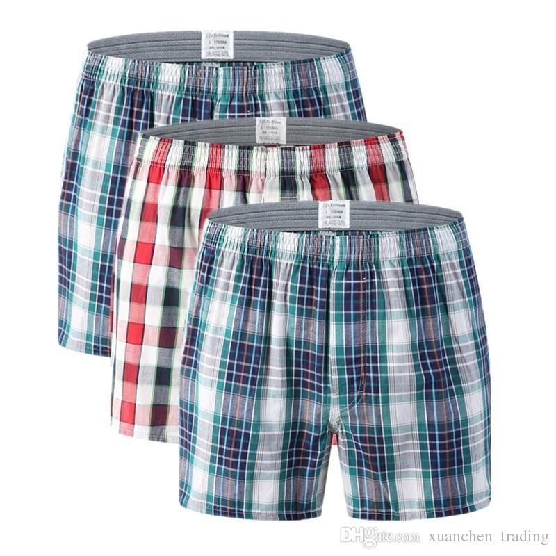 M-6XL Herren Unterwäsche Boxer Shorts Casual Baumwolle Schlaf Unterhose Qualität Plaid Lose Bequeme Homewear Gestreiften Pfeil Höschen