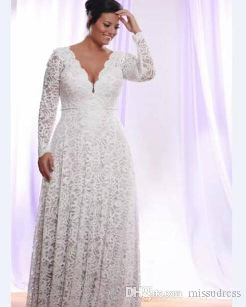 Discount Plus Size Wedding Dresses Full Lace Winter Long Sleeve A Line  Bridal Gown White Cheap Wedding Dress Halter Wedding Dresses Monique  Lhuillier ...