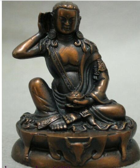 Tibete Tibetano Budista Bronze Milarepa Arhat Buda Passeio Deer Head Estátua Set