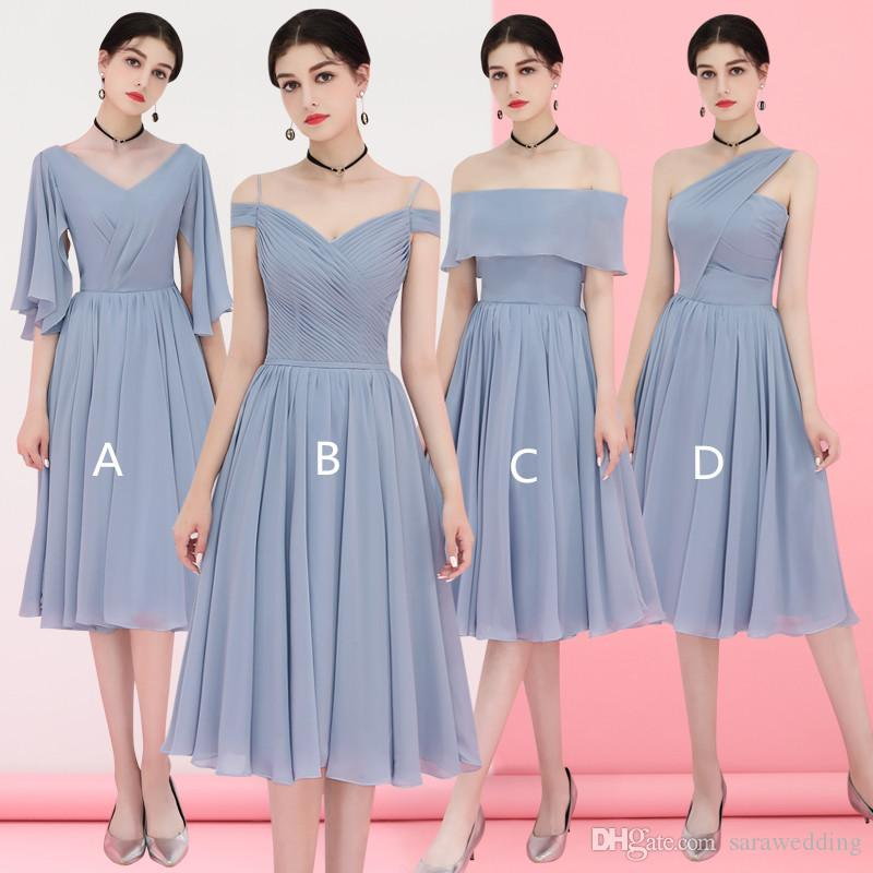 Богемные шифоновые платья подружки невесты шнуровки 2019 Bohemian MIDI свадьба платья новых платьев невесты до 50 лет