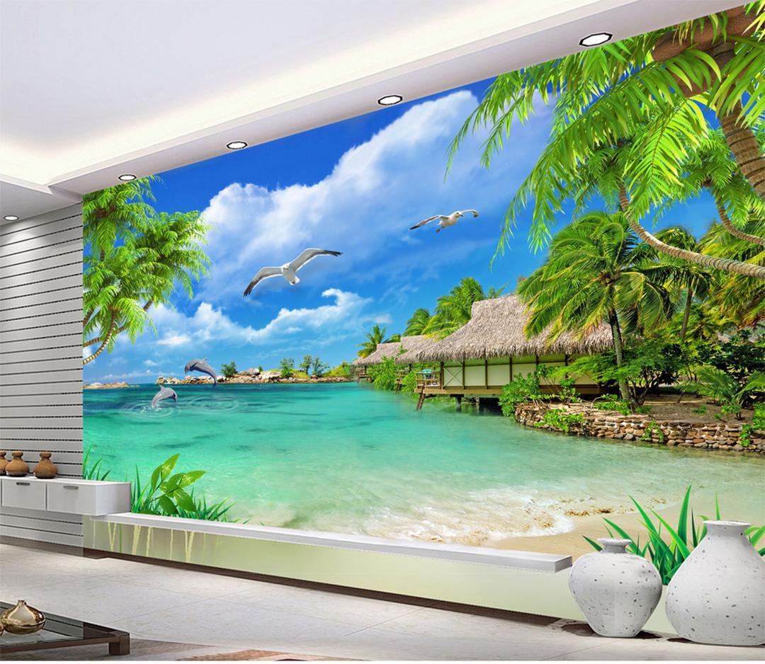 맞춤 소매 푸른 하늘, 흰 구름, Bblue 바다, 녹색 코코넛, 초가 사자, 바다 사자, 수영, 바다새, 비행, 배경, 벽