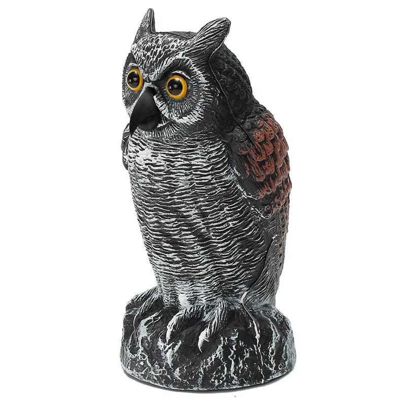 Kiwarm Fashion Lifelike Fake Standing Owl Bird Hunting Shooting Decoy Deterrent Repeller Home Garden Decor Ornament