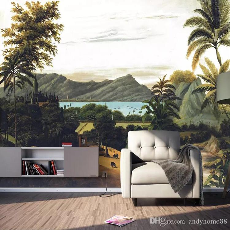 3d tropical forêt tropicale style mural nordique salon chambre papier peint simple moderne rétro tv fond mur tissu