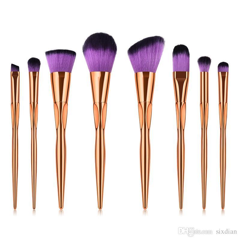 8 stücke Pro Fashion Make-Up Pinsel Kit Gesicht Foundation Puder Lidschatten Erröten Lip Plating Make-Up Pinsel Set