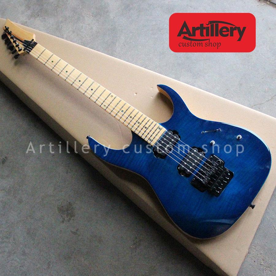 أعلى جودة مصنع مخصص IBAZ الغيتار الكهربائي 6 سلاسل مع ملتهب القيقب الأعلى الرقبة من خلال القيثارات الجسم instument الموسيقية
