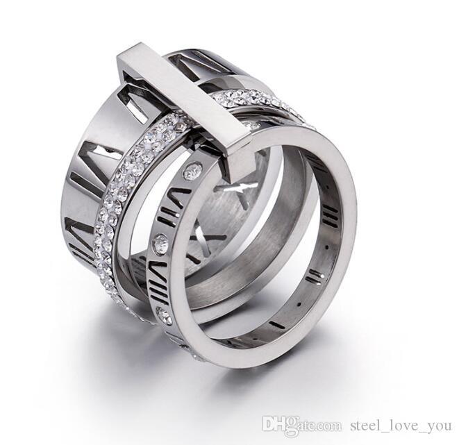 Venta caliente tendencia moda parejas anillos titanium acero inoxidable anillo de la alta calidad de la mezcla baratos anillos venta al por mayor de zirconia