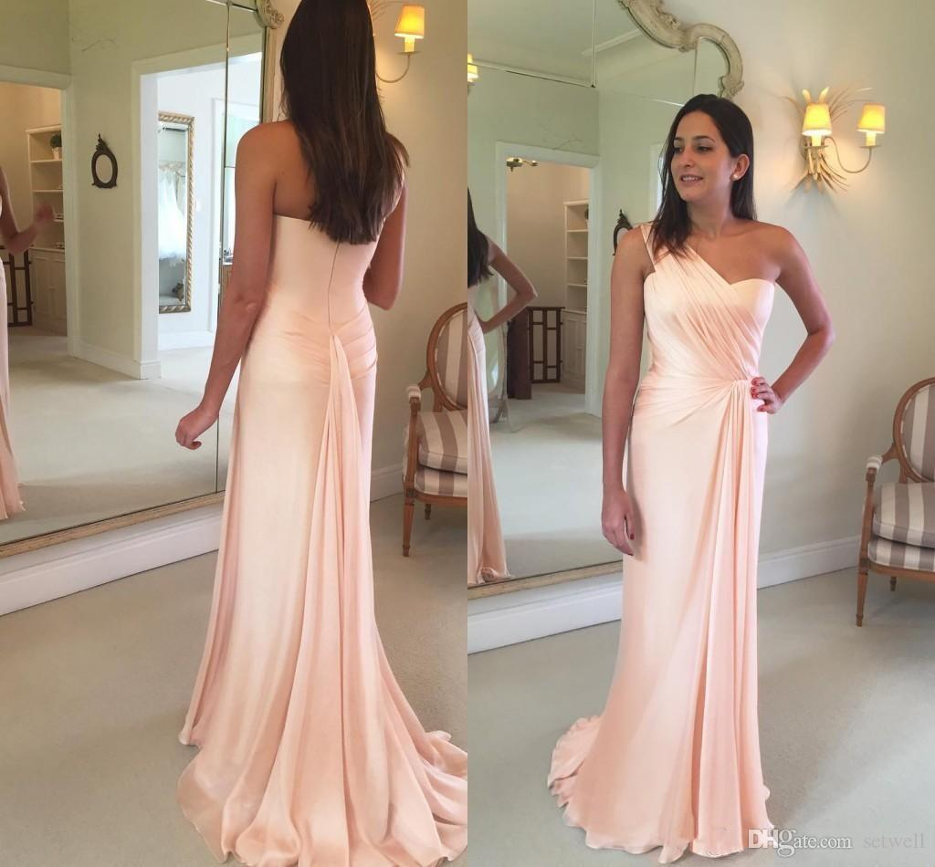 Blush Pink Mermaid Prom Dresses One Shoulder Pleats Chiffon Custom Made Party Gowns Formal Evening Dress
