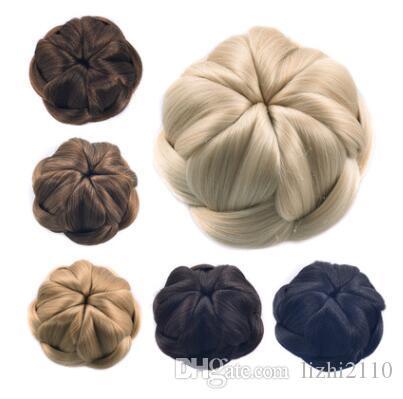 Tête de boulette de viande de femmes européennes et américaines tressé les cheveux enveloppés dispositif de disque de soie bun haute température ventes directes d'usine Yiwu