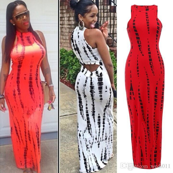 Moda 2018 mujeres vestido de tanque vestido informal Imprimir Lady Summer Sexy vendaje de Bodycon estirar Party Clubwear vestido largo maxi 29