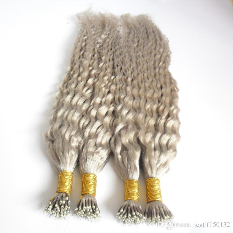 Серебристо-серый наращивание волос волна воды вьющиеся Реми Наращивание Волос Pre Bonded Nano Loop Кольцо для Волос 200 г 7a 200 шт. Нано Кольца Бусы