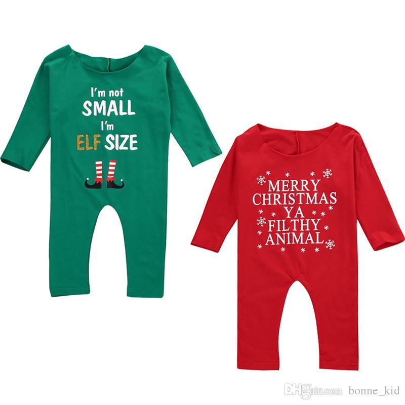 Natale bambina tuta rosso verde XMAS pigiama lettera pagliaccetto dei vestiti della stampa bambino la tuta vestiti svegli del capretto dei bambini pigiama 0-24M