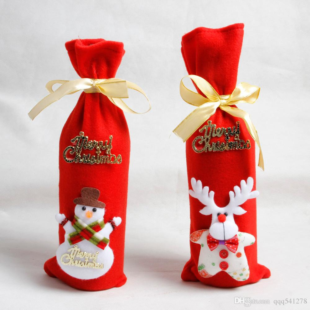 Kırmızı Şarap Şişesi Kapağı Çanta Dekorasyon Ev Partisi Noel Baba Noel ambalaj noel merry christmas dekorasyon