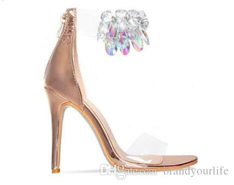 100% top quality 100% quality pretty nice Rose Gold Nude Leather High Heels Diamond Sandals Transparent PVC ...