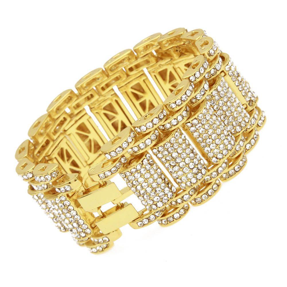 Gold plated rhinestone bangle