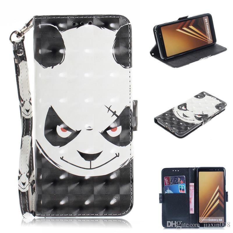 Flip Cover Bolsas de teléfono para Samsung Galaxy A8 2018 Caso 3D Pintura Cuero de LA PU Fundas de billetera de silicona suave Coque