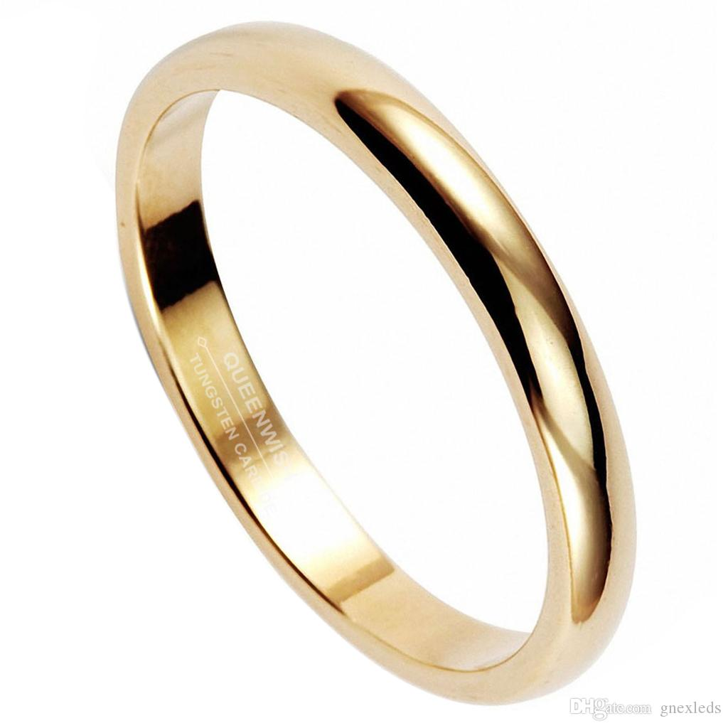 Cor do ouro Do Vintage Clássico Anel de Tungstênio 3mm Anéis De Casamento Clássico Banda Conforto Fit Mais Recente Moda Jóias Infinito