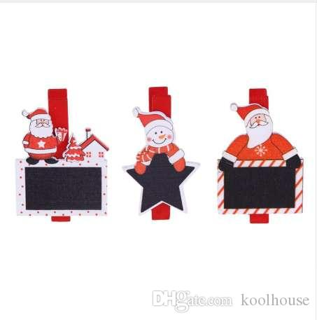 6Pcs 4.8cm Santa Claus Wood Clips Photos Picture Clips Pendant Christmas Decorations for Home Holiday Party Supplies