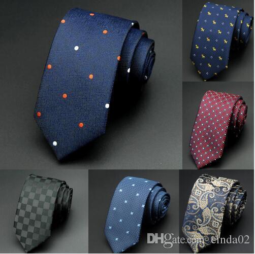 Verde para hombre corbata 6cm hombre nuevo punto de la manera corbatas Corbatas Gravata Jacquard delgado lazo de corbata para los hombres de negocios