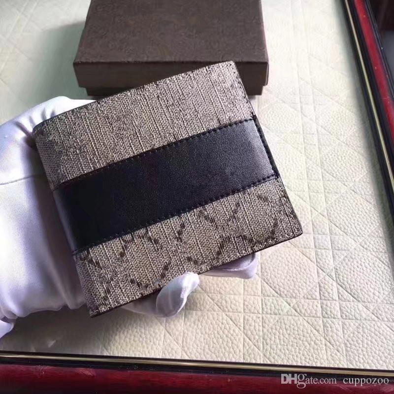 Yeni Stil ünlü marka Inek Deri Erkek Kısa Cüzdan Rahat Hakiki Deri Erkek Cüzdan Çanta Standart Kart Sahipleri Erkekler Için Cüzdan gel kutu