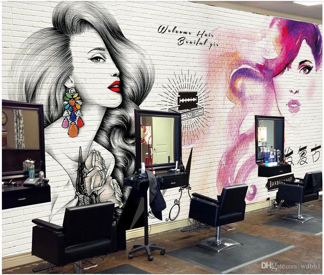 Papel pintado 3d foto personalizada tendencia de pintura europea y americana tienda de peluquería belleza maquillaje bordado papel pintado mural para paredes sala de estar 3d