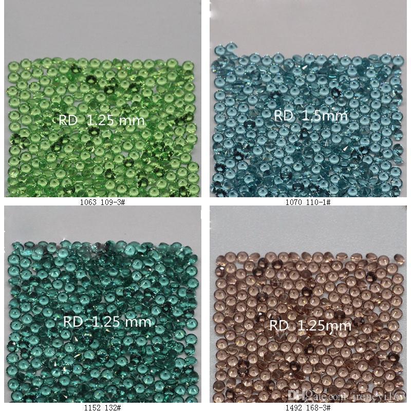 259 Colores de Calidad Superior Nano Cristal Redondo 0.8-1.4mm Corte Facetado de Piedras Preciosas Sintético Sintético Sintético Para Joyería 1000 unids Por Color Much