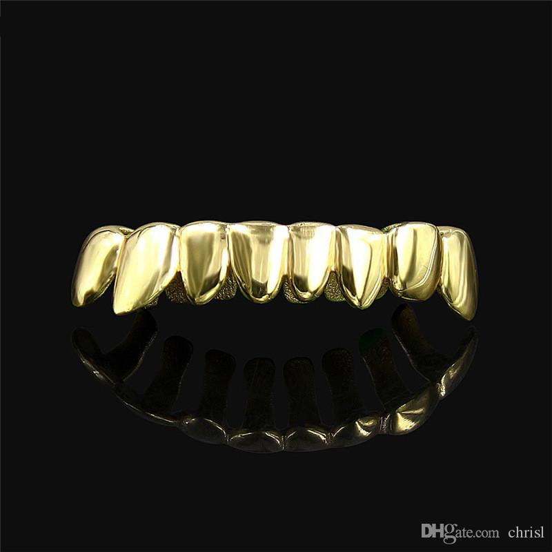 14K Real Gold Plated Irregular Dental Grills 8 Teeth Bottom Caps Lower Removable Hip Hop Body Jewelry