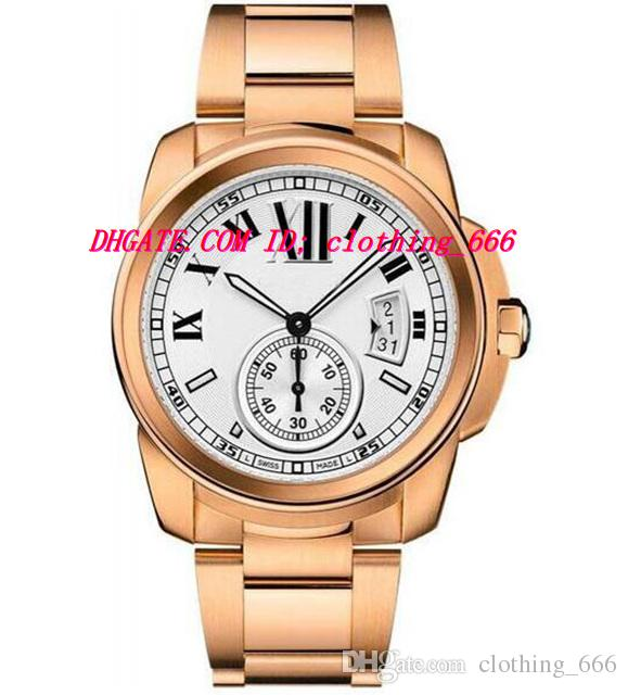 Relógios de luxo Mens 42mm W7100018 Assista Meninos Relógios de Pulso Automático Máquinas Mostrador Branco 18k Rose Gold Men Watch Relógios