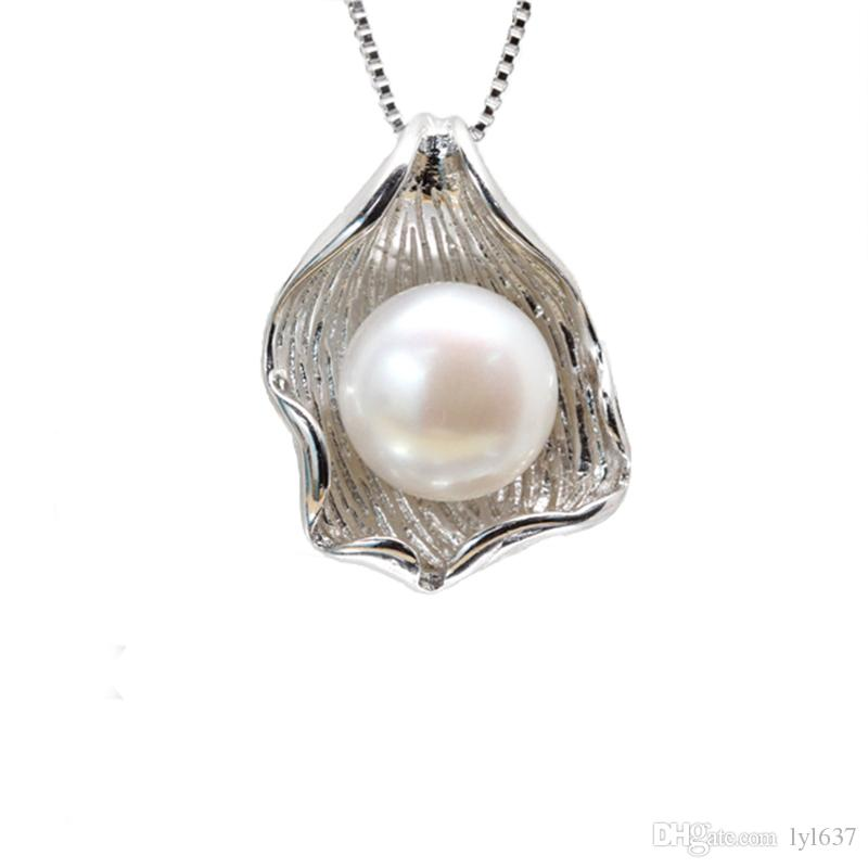 Freshwater Pearl Pendant 2018 Fashion Women Jewelry Accessories 10-11mm White Purple Oblate Pearl 925 Silver Shell Charms No Chain Wholesale