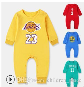Brand New bambini vestiti di autunno della molla pagliaccetti 100% del cotone di pallacanestro delle tute del manicotto appena nato lungo Sport Baby pagliaccetti di trasporto