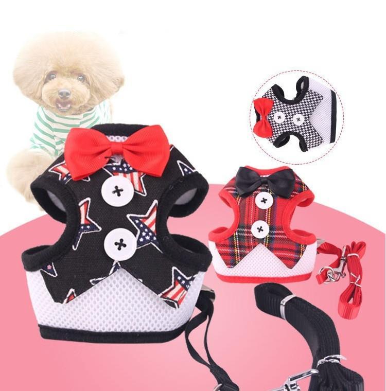 Vente Chaude Pet Chien Robe de soirée bowknot cravate poitrine bretelles Avec Boucle En Métal Pet Gilet Avec Corde de Traction T3I0298