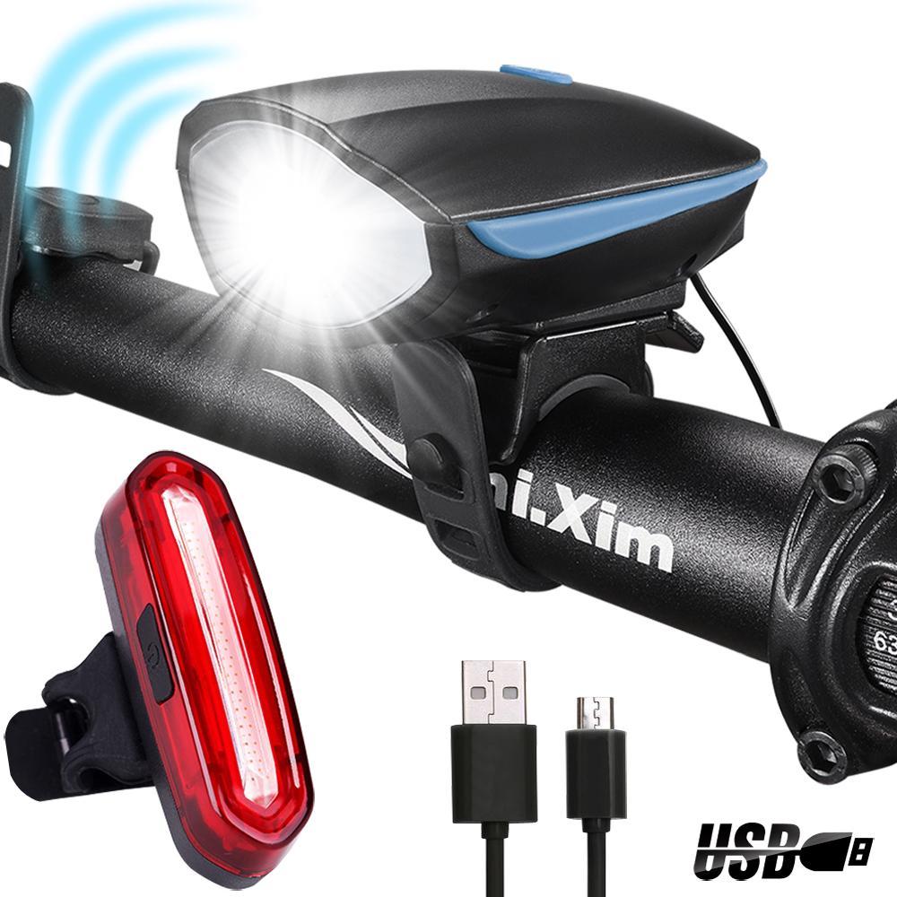 Luz delantera para bicicleta y altavoz para bicicleta electrica USB recarga JE